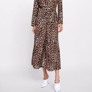 Zara belted Leopard Print Dress